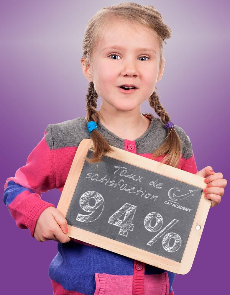 petite fille présentant le taux de satisfaction général